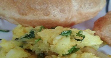 Poori Bhaji Recipe , dry aloo recipe ,